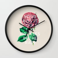 kiss Wall Clocks featuring Kiss by Heart of Hearts Designs