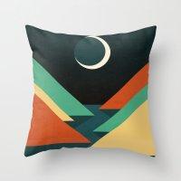 Throw Pillows featuring Quiet stream under crescent moon by Picomodi