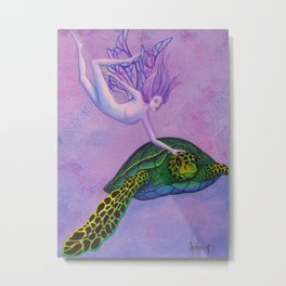 Turtle Fairie Metal Print