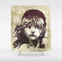 les miserables Shower Curtains featuring Les Miserables Girl by Pop Atelier
