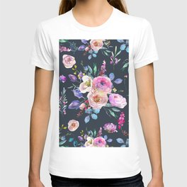 Colorful Watercolors Flowers Pattern T-shirt