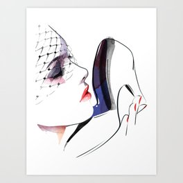 Woman holding shoes, Fashion Beauty, Fashion Painting, Fashion IIlustration, Vogue Portrait, #16 Art Print