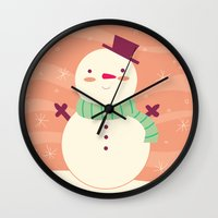 snowman Wall Clocks featuring Snowman by Claire Lordon