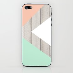 Modern Teal Peach Triangles Color Block on Wood iPhone & iPod Skin