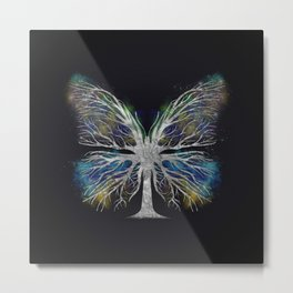 Butterfly Tree - Silver Color Mist Metal Print
