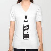 whiskey V-neck T-shirts featuring Whiskey Diver by Luke Brogoitti