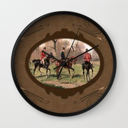 Leather foxhunt framed Wall Clock