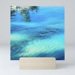 Lake Reflections: Whirlpool in Aqua and Cerulean Blue Mini Art Print