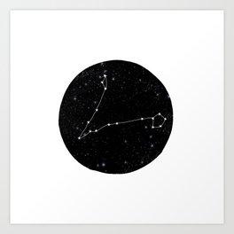 Pisces zodiac star sign constellation art black and white Art Print