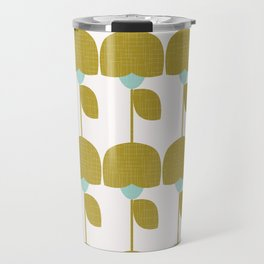 Mostard and Mint Retro Flowers in Scandianvian Style Travel Mug