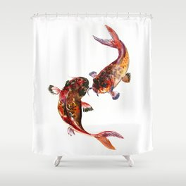 Two Koi, Feng Shui Art Koi Fish, Koi Fish design, Yin Yang Shower Curtain