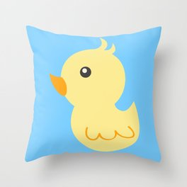 Yellow rubber ducks illustration Throw Pillow