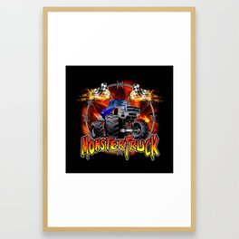 Monster Truck blue on Fire                                          Framed Art Print
