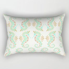 Cute seahorse in aqua pink and gold accents Rectangular Pillow