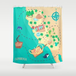 California Treasure Map Shower Curtain