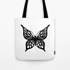 Butterfly Black on White Tote Bag