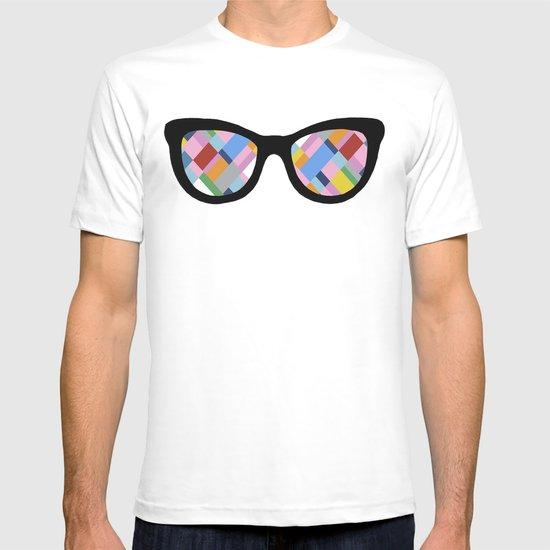 Map 45 Glasses on Sky Blue T-shirt