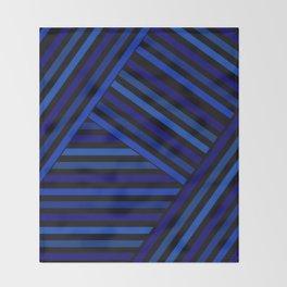 Dark blue striped patchwork Throw Blanket