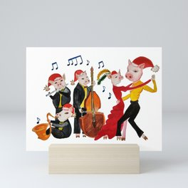 New Year's Tango of the Funny Pigs Mini Art Print