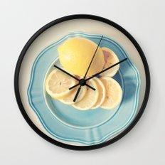 Lemons on Blue Wall Clock