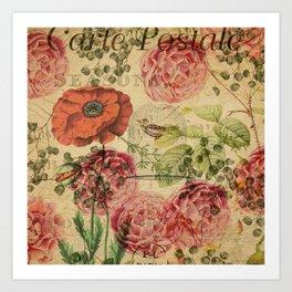 Vintage bohemian floral bird cage collage Art Print