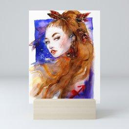 Sagittarius girl Zodiac Watercolor Illustration Mini Art Print
