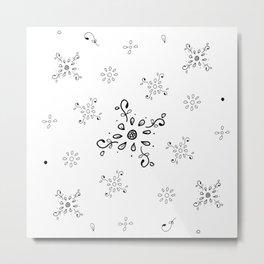 Floral Ink Doodle Pattern Metal Print