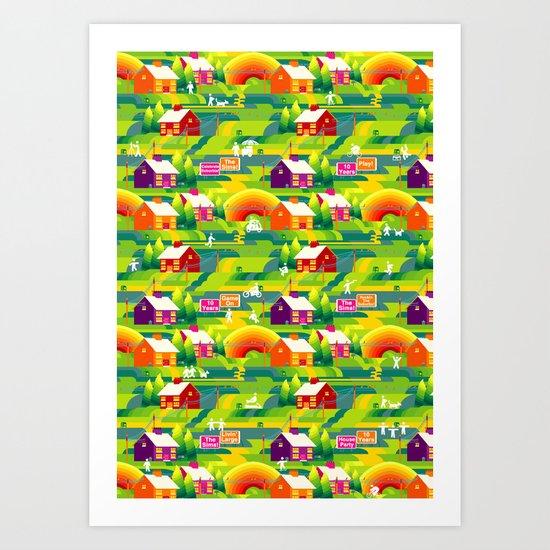 Technicolor Suburbs Art Print