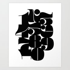 Numbers Black Art Print