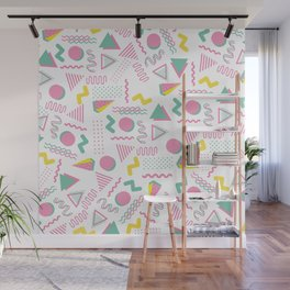 Abstract retro pink teal yellow geometrical 80's pattern Wall Mural