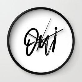 Oui Oui Poster, Typography Art Poster, Typography Print, Printable Art, Art Prints Wall Clock