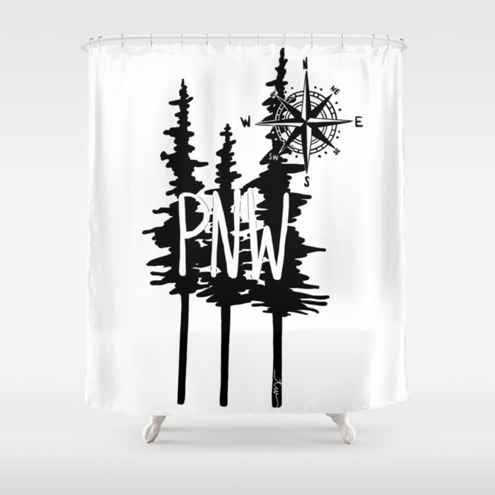 PNW Trees Compass Shower Curtain