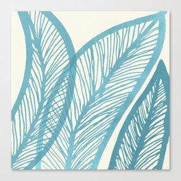 Blue Banana Leaf Canvas Print