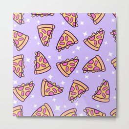 Pizza Magic // Purple Metal Print