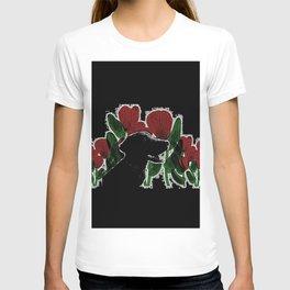 Black Lab In A Flower Garden T-shirt