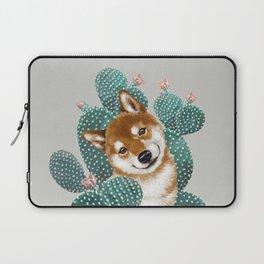 Shiba Inu and Cactus Laptop Sleeve