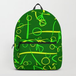 Vegetable lime and lemon stems and elements on a green background in a natural style. Backpack