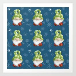 Blue Winter Gnome Pattern Art Print