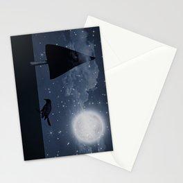 der einsame Rabe in der Nacht Stationery Cards