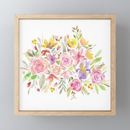 Watercolor Flowers Spring Framed Mini Art Print