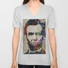 Abraham Lincoln Watercolor Modern Abstract GIANT PRINT ART Unisex V-Neck