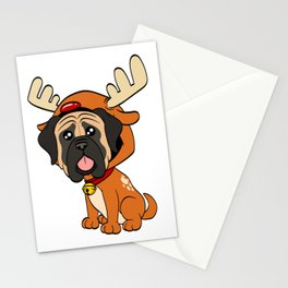 Mastiff  Christmas Dog T-shirt Design On Xmas Eve or Day Paw Paws Pet Breed Dogs Christmas Tree Stationery Cards