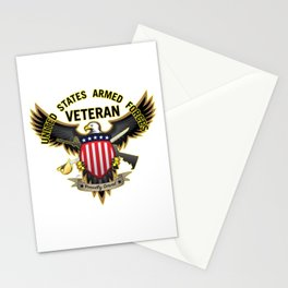 United States Armed Forces Military Veteran Eagle - Proudly Served Stationery Cards