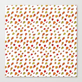 Hand drawn red orange green watercolor leaves pattern Canvas Print