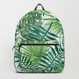 Large Green Fern Palm and Monstera Tropical Plants Backpack