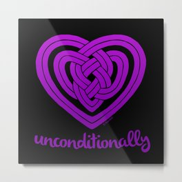 UNCONDITIONALLY in purple on black Metal Print