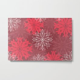 Snowflakes in holiday red Metal Print
