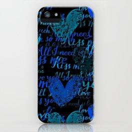 Kiss Me, Miss me Blue iPhone Case