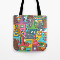 the neighbourhood Tote Bags featuring Neighbourhood by Raquel Benmergui