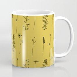 Minimal Flower Pattern Thin Line Mustard Yellow Coffee Mug